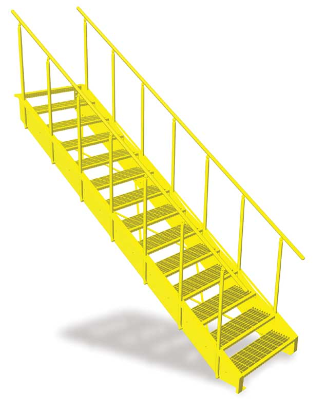 Lapeyre's NEW Conventional Stair with OSHA Compliant Stair Rails - Safety Yellow