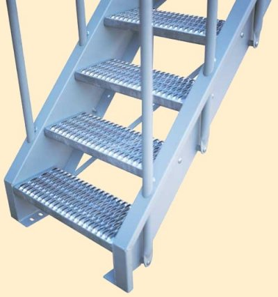 Gray Pained stair with Galvanized Grip Treads