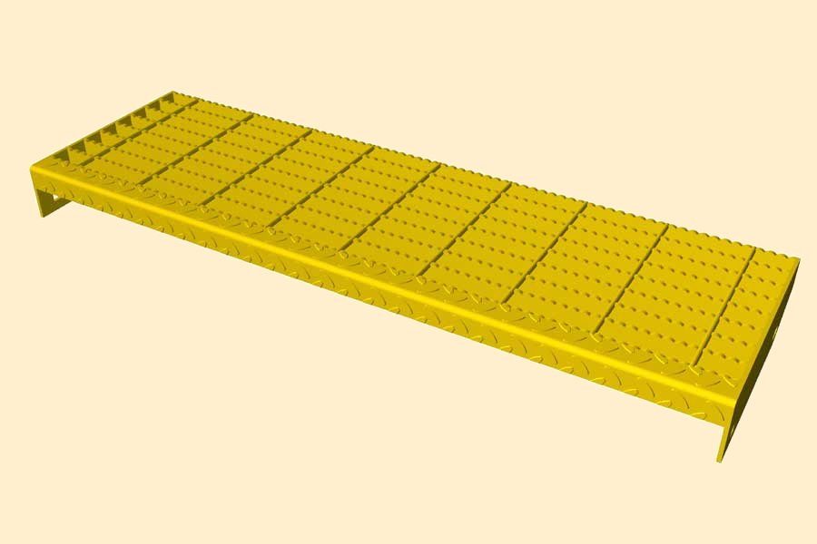 Bar Grate Tread with diamond plate nosing